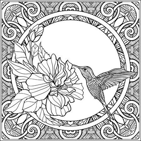 Tropical Animals And Plants N Decorative Pattern Background Outline Drawing Vector Illustration