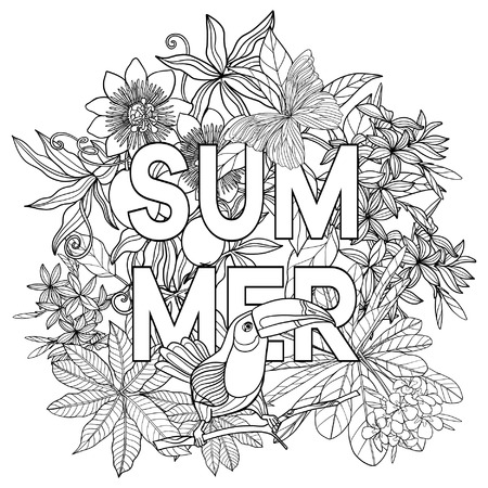 Card with word summer and tropical birds and plants. Vector illustration.