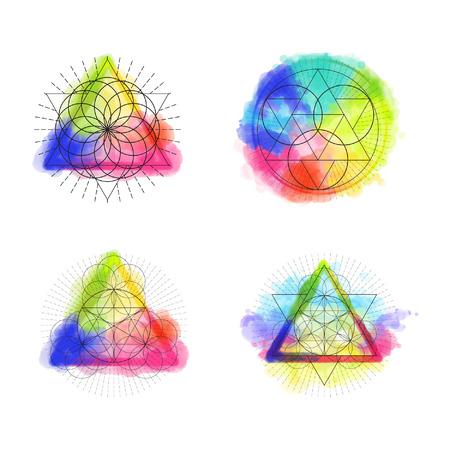 simbolo geametry Sacred su sfondo arcobaleno acquerello. Illustrazione vettoriale. Vettoriali