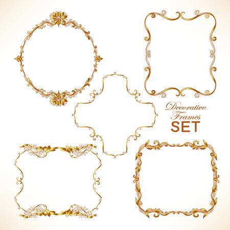 Set di oro cornice decorativa vintage. Illustrazione vettoriale. Archivio Fotografico - 60088201