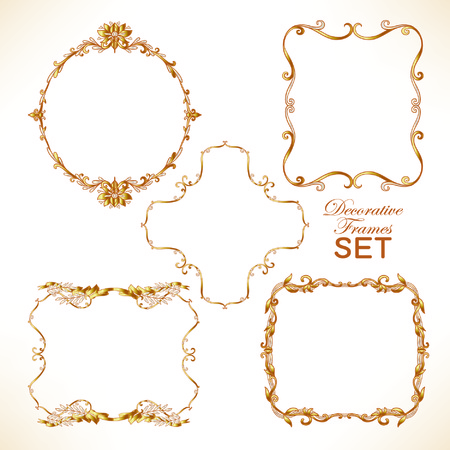 Set of gold decorative vintage frame. Vector illustration. Ilustracja