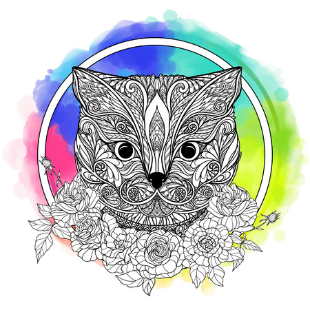 head collar: British shorthair cat. Decorative cat head with roses collar on watercolor rainbow background. Vector illustration in zendoodle style. This illustration can be used as a greeting card or as a print on T-shirts and bags.