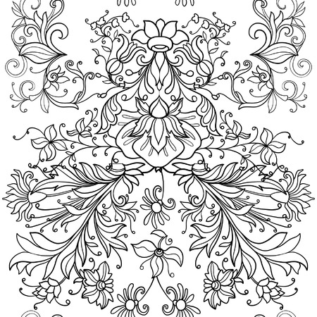 middle ages: Floral seamless pattern in middle ages style. Outline vector illustration. Illustration