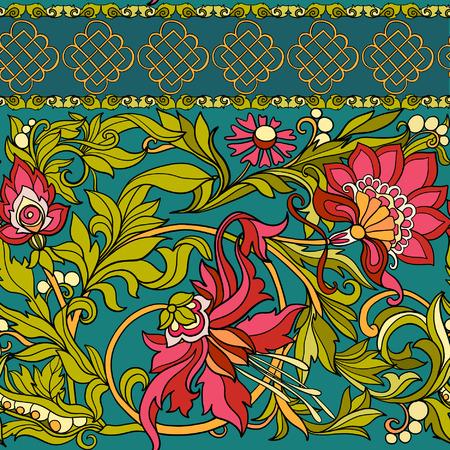 Floral nahtlose Muster im Mittelalter-Stil. Vektorgrafik