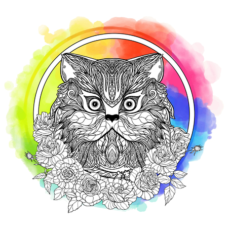 persian cat: Persian cat. Decorative cat head with roses collar on watercolor rainbow background. Vector illustration in zendoodle style. This illustration can be used as a greeting card or as a print on T-shirts and bags.