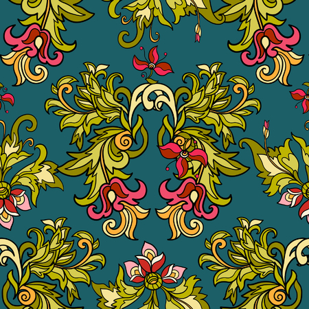 flower age: Floral seamless pattern in middle ages style.