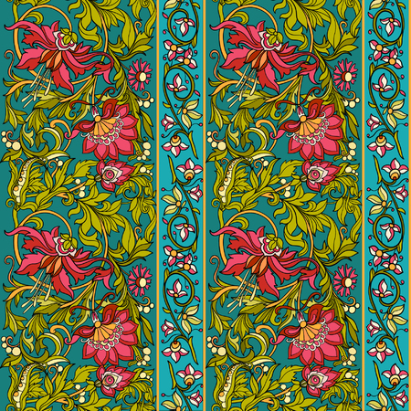 Floral seamless pattern in middle ages style.