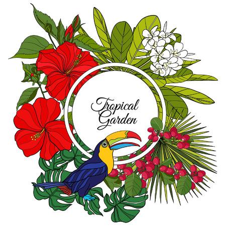 本文の熱帯の動物や植物と空間を持つカード。この図は、グリーティング カードや t シャツやバッグにプリントとして使用できます。