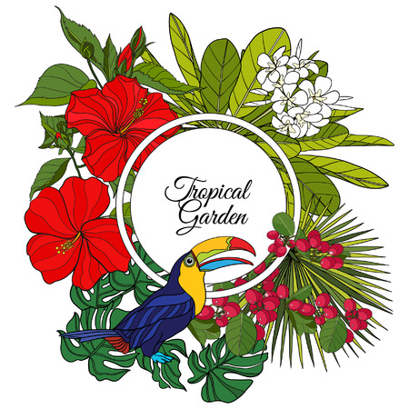 Card with tropical animals and plants and space for text. This illustration can be used as a greeting card or as a print on T-shirts and bags.