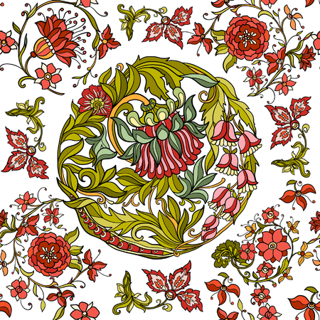 Floral seamless pattern in middle ages style Colored on white background Illustration