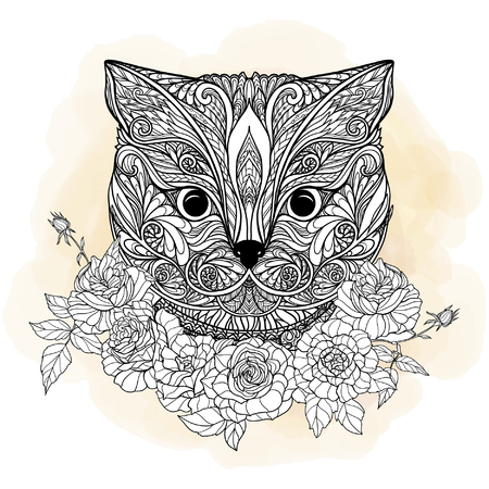 head collar: Decorative cat head with roses collar. Vector illustration. in zendoodle style. This illustration can be used as a greeting card or as a print on T-shirts and bags. Illustration