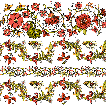 william: Floral seamless pattern in middle ages style Colored on white background Illustration