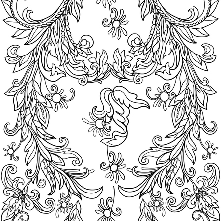william: Floral seamless pattern in middle ages style. Outline vector illustration. Illustration