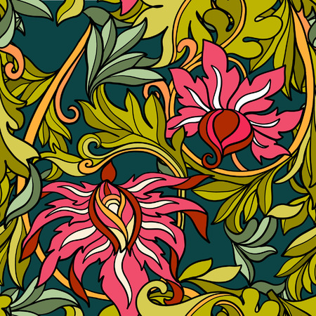 middle ages: Floral seamless pattern in middle ages style.