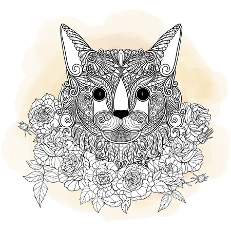 Decorative cat head with roses collar. Vector illustration. in zendoodle style. This illustration can be used as a greeting card or as a print on T-shirts and bags. Illustration