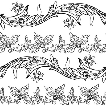 morris: Floral seamless pattern in middle ages style. Outline vector illustration. Illustration