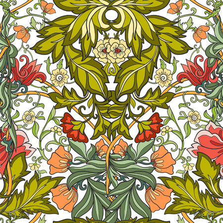 ages: Floral seamless pattern in middle ages style Colored on white background Illustration
