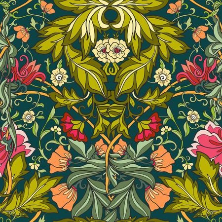 Sin patrón floral en estilo edad media. Foto de archivo - 60088592