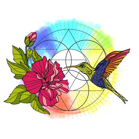 animali e piante tropicali? n sfondo con il simbolo della geometria sacra e sfondo arcobaleno acquerello. Illustrazione vettoriale.