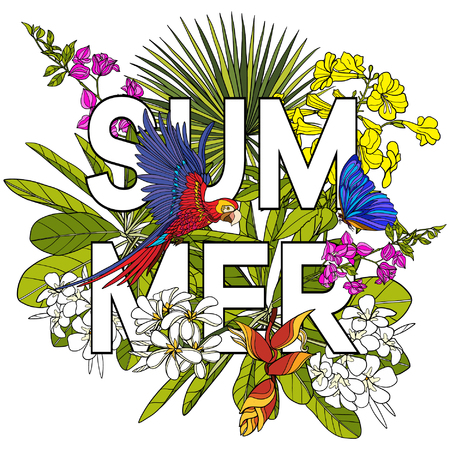 superscription: Card with word summer and tropical birds and plants. Vector illustration.