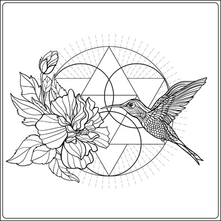 Tropical animals and plants ?? background with sacred geometry symbol. Outline drawing. Vector illustration. Good for adult coloring book Ilustração