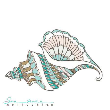 海のシェル。海自由奔放に生きるコレクションの要素。ベクトルの図。