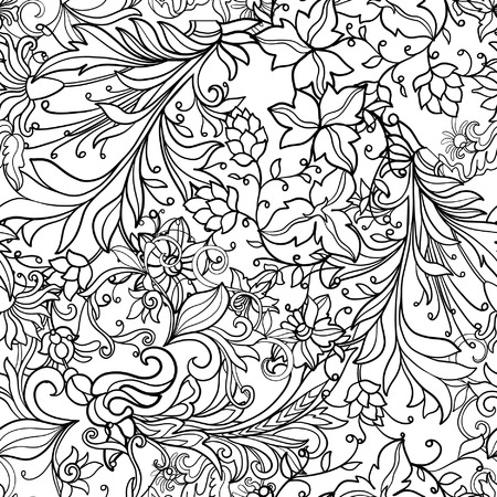 ages: Floral seamless pattern in middle ages style. Outline vector illustration. Illustration