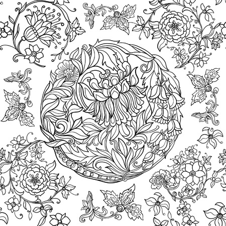 Floral seamless pattern in middle ages style. Outline vector illustration. Vector Illustration
