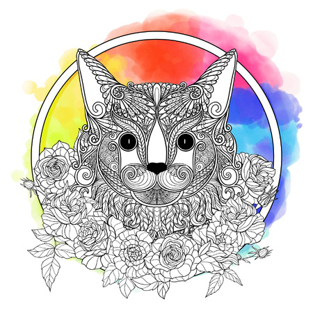 head collar: Maine Coon cat. Decorative cat head with roses collar on watercolor rainbow background. Vector illustration in zendoodle style. This illustration can be used as a greeting card or as a print on T-shirts and bags. Illustration