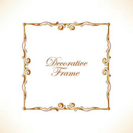 gold decorative vintage frame vector illustration royalty free rh 123rf com vintage frame vector freepik vintage frame vector png
