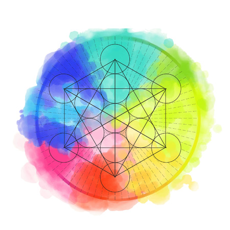 karma design: Sacred geametry symbol on rainbow watercolor background. Vector illustration. Illustration