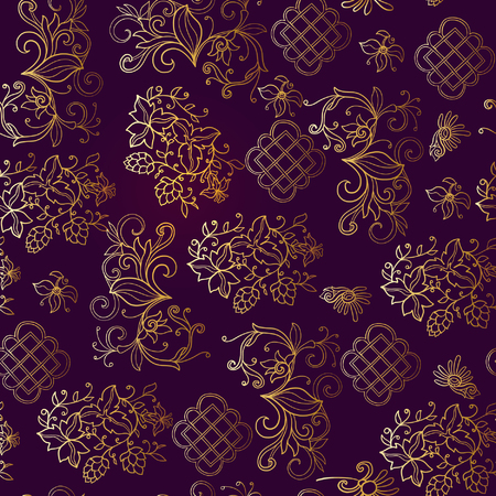 ages: Floral seamless pattern in middle ages style. Gold outline on black background Illustration