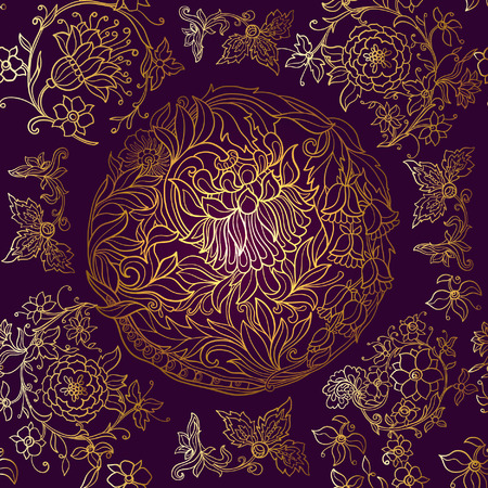 william: Floral seamless pattern in middle ages style. Gold outline on black background Illustration