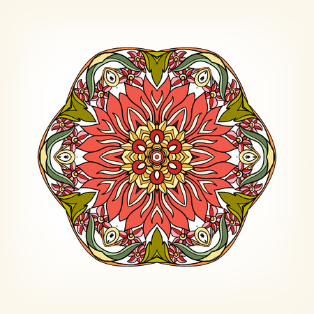 amulet: Beautiful Deco Vintage flowers Mandala in red and green. Patterned Design Element, Ethnic Amulet Vector illustration.