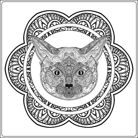 Gato Decorativo Con La Mandala. Ilustración Del Vector. Libro De ...