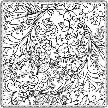 中世スタイルのシームレス花柄大人およびより古い子供のための塗り絵。ページを着色。図面の概要を説明します。ベクトルの図。  イラスト・ベクター素材