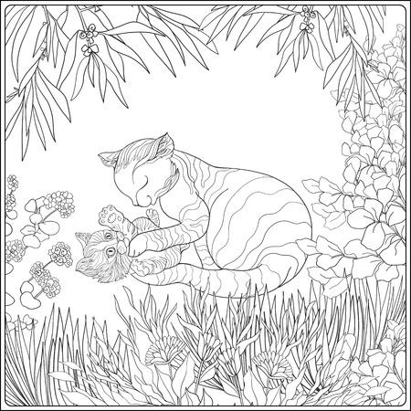 大人およびより古い子供のための塗り絵。庭で彼女の小さな kittern と素敵な母猫のページを着色します。