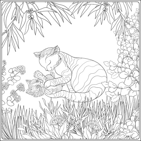 Coloring book for adult and older children. Coloring page with lovely mother cat and her small kittern in the garden. Illustration