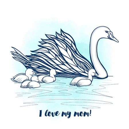 Mother Swan with chicks  with lettering I love my mom. Vector illustration.This illustration can be used as a greeting card or as a print on T-shirts and bags.