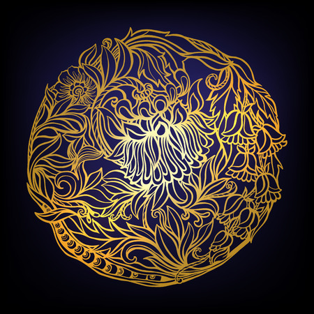 middle age: Decorative floral vintage pattern. Gold on black. Middle age style. Round composition. Vector illustration.