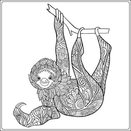 Decoratieve schattig sloch. Schets vector illustratie. Kleurboek voor volwassenen en oudere kinderen. Overzichtstekening kleurplaat. Stock Illustratie