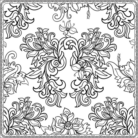 flower age: Floral seamless pattern in middle ages style. Coloring book for adult and older children. Coloring page. Outline drawing. Vector illustration.