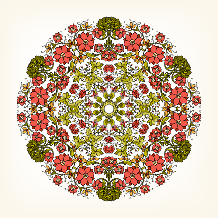 Beautiful Deco Vintage flowers Mandala , Patterned Design Element, Ethnic Amulet Vector illustration.