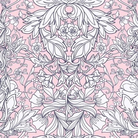 Floral nahtlose Muster im Mittelalter-Stil. Standard-Bild - 60500395