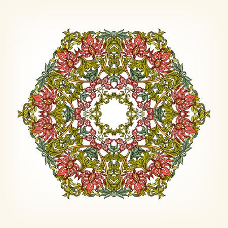 amulet: Beautiful Deco Vintage flowers Mandala , Patterned Design Element, Ethnic Amulet Vector illustration.