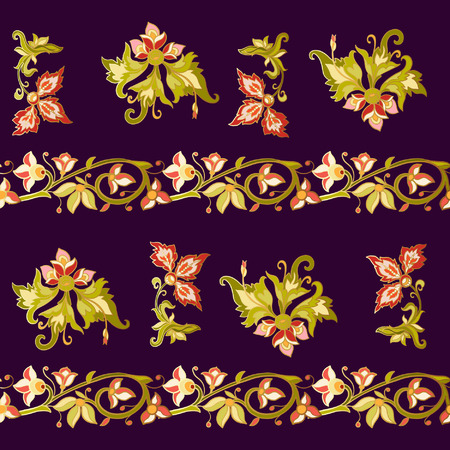 flower age: Floral seamless pattern in middle ages style. Colored with gold contour.