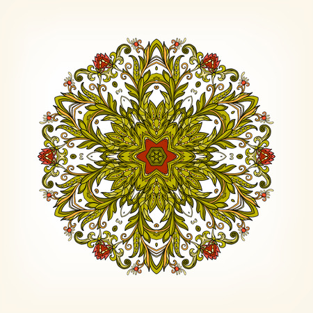 Beautiful Deco Vintage flowers Mandala in red and green. Patterned Design Element, Ethnic Amulet Vector illustration.