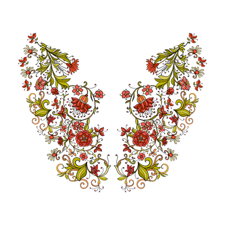 renaissance woman: Neck line embroidery designs vith middle ages floral pattern. Vector illustration.