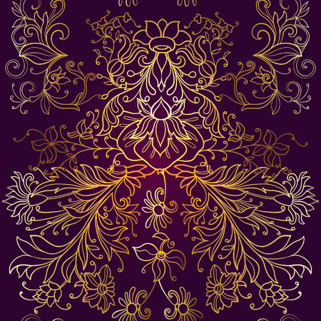 flower age: Floral seamless pattern in middle ages style. Gold outline on black background Illustration
