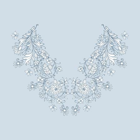Neck broderie ligne designs avec Moyen Age motif floral. Vector illustration.